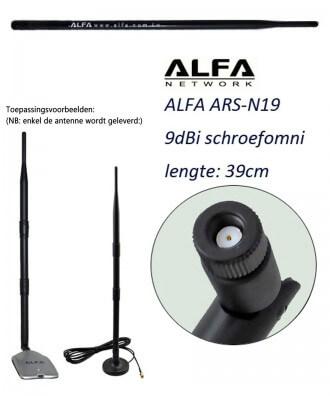 Alfa ARS-N19 9 dBi schroefantenne 2,4 GHz